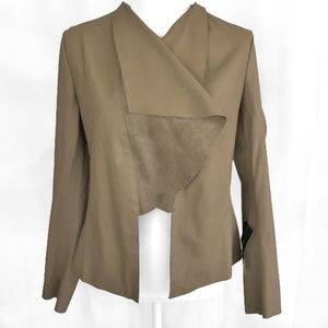 Zara Vegan Leather Draped Jacket Suede DetailNWT
